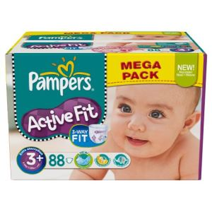 Pampers Active Fit taille 3+ Midi (5-10 kg) - Méga pack x 88 couches