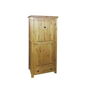 Bonnetière rustique 1 porte et 1 tiroir avec coeur en pin