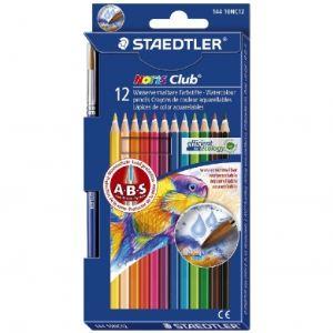 Staedtler Etui de 12 crayons de couleur aquarellables Noris Club avec pinceau