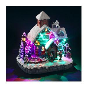 """Village de Noël lumineux et musical """"Maison du Père Noël"""""""