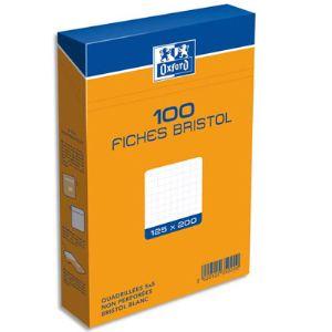 Oxford Boîte de 100 fiches bristol 210g quadrillé 5x5 non perforées (125 x 200 mm)