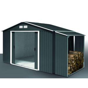 Duramax Abri de jardin Titan avec abri bûches Woodstore en métal 4,75 m2 + 1,10 m2