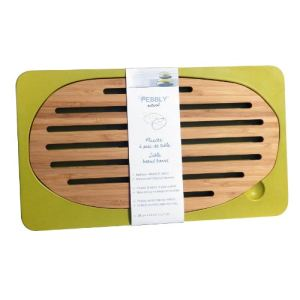 Pebbly Planche à pain de table en bambou (16 x 28 cm)