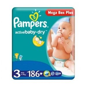 Pampers Active Baby Dry taille 3 (4-9 kg) - 186 couches