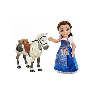 Jakks Pacific Poupée Belle Disney Princesse en robe bleue et son cheval 36 cm