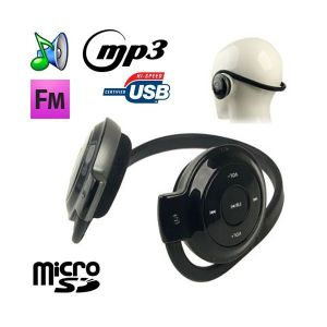Yonis Casque sport lecteur audio MP3 sans fil Radio FM Running Micro SD
