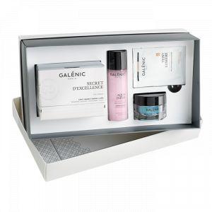 Galénic Coffret Secret d'Excellence - Crème, lotion de soin Aqua Infini, Teint Lumière Hydratant Bonne Mine et le Gel Chrono-Active Beauté de Nuit