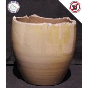 Clair de Terre Esquisse - Poterie en terre cuite émaillée forme vase rond Ø26,5 x 28 cm