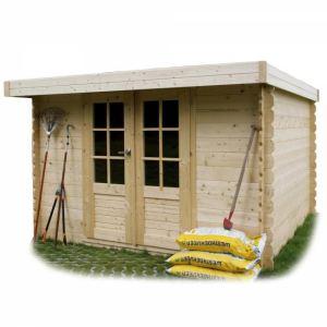 Solid S8349 - Abri de jardin Pau en bois 28 mm avec toit plat 5 m2