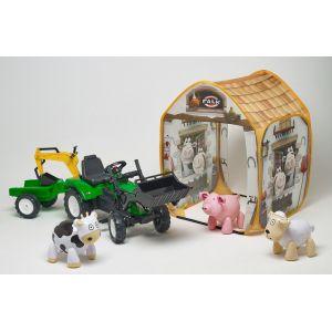 Falk Tractopelle avec remorque et excavatrice + tente ranch + animaux