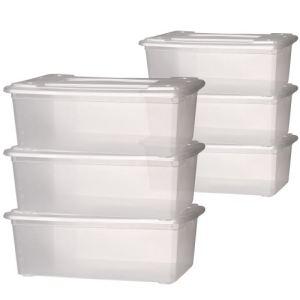 Jago SBOX01 - 6 boîtes de rangement en plastique pour chaussures avec couvercles