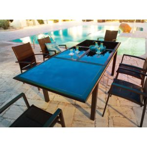 Hesperide Table de jardin rectangulaire Azua 160/240 x 100 x 75 cm