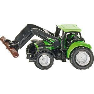 Siku 376875 - Deutz Fahr Agrotron Ttv avec chargeur frontal et tronc d'arbre grappin