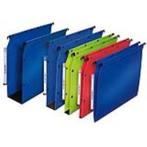 L'Oblique AZ Boîte de 10 dossiers suspendus en polypropylène pour armoire (dos : 15 mm)