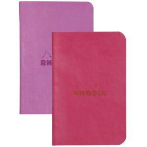 Rhodia 117211C Rhodiarama lilas/framboise - Lot de 2 carnets souples format 7 x 10,5 cm 64 pages ligné