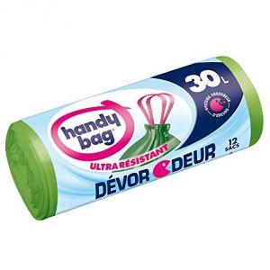 Handy Bag Dévor Odeur 30 L - 1 rouleau de 12 sacs poubelle à poignées coulissantes