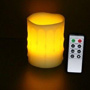 Rainbow Bougie LED jaune coulure cire et télécommande