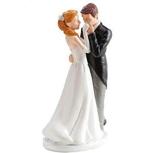 """Figurine couple de mariés """"Baise Main"""" (16 cm)"""