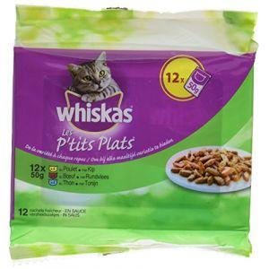Whiskas Les p'tits plats viandes et poissons en sauce - Lot de 6 (12 sachets fraîcheur 50 g)