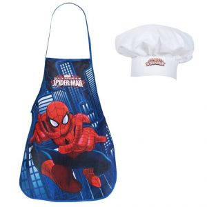 Coffret petit cuisinier Spiderman : tablier et toque