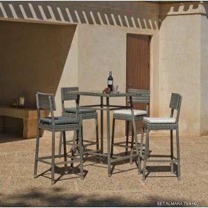 Hévéa Almara 75/4+4c - Ensemble de jardin table et 4 chaises avec coussin Alba