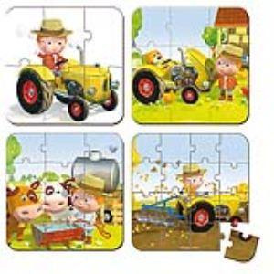 Janod Puzzle valisette : Le tracteur de Peter (4 modèles)