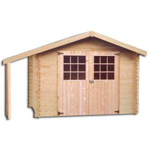 Decor et jardin 63417SA00 - Abri de jardin en bois massif 28 mm 5,90 m2 + appentis 1,42 m2