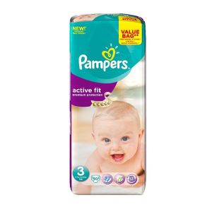 Pampers Active Fit taille 3 Midi (4-9 kg) - Value Bag x 50 couches