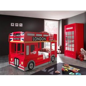Vipack Furniture Lit superposé Bus de Londres pour enfant 90 x 190 cm