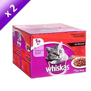 Whiskas Sélection de viandes en sauce - Lot de 2 (24 x 100 g) pour chat adulte