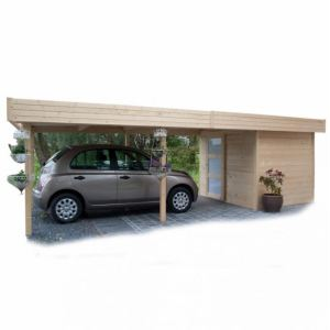 Solid S8389 - Abri de jardin Randers en bois 28 mm avec carport 4,60 + 11,33 m2