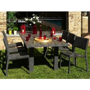 DCB Factory Table de jardin rectangulaire en aluminium et composite 160/220 x 100 x 74 cm