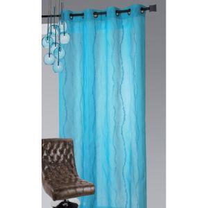 Homemaison Voilage en étamine brodé vagues verticales 140 x 240 cm