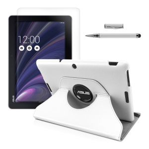 Kwmobile Housse en cuir 360° Premium pour Asus Memo Pad 10 ME103K fonction support, Auto Sleep / Wake Up + Film, transparent + Stylet