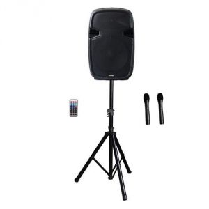 Kimex Enceinte mobile active bluetooth 15'' trolley + 2 micros + trépied