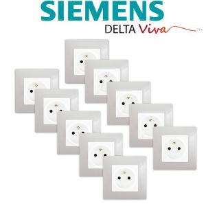 Siemens LOT 10 Prise 2P+T Blanc Delta Viva + Plaque Gris