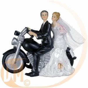 Figurine couple de mariés à moto