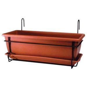 Marchioro Jardinière de balcon Nara 50 en résine 50 cm avec support