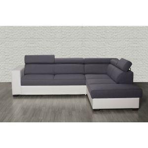 Relaxima Canapé d'angle à droite convertible Sublime avec têtières ajustables en tissu et simili cuir