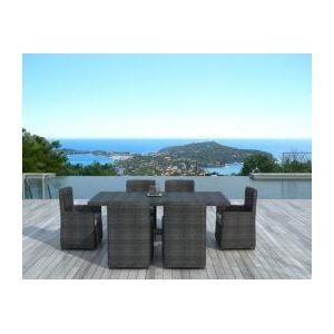 Delorm Design SD2006 - Table de jardin rectangulaire en résine tressée avec 6 fauteuils