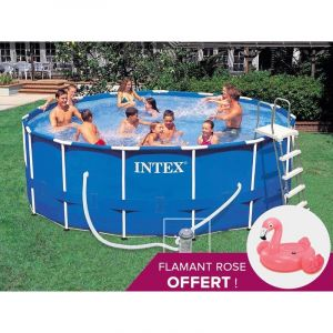 Intex piscine tubulaire metal frame ronde 4 57 x 1 22 m for Piscine intex 4 57 x 1 22