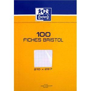 Oxford Boîte de 100 fiches bristol 224 g 5x5 perforées 9 trous (A4)