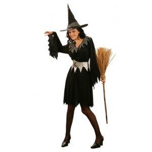 Déguisement sorcière avec tulle argenté Halloween