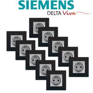 Siemens LOT 10 Prise 2P+T Silver Delta Viva + Plaque Noir