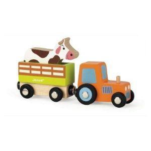 Janod Story : Set Ferme tracteur, remorque et vache
