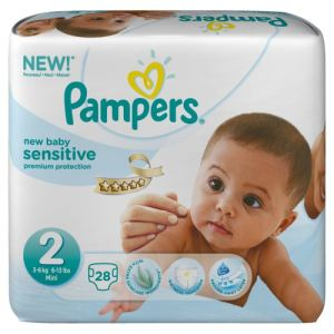 Pampers New Baby Sensitive taille 2 Mini (3-6 kg) - 28 couches