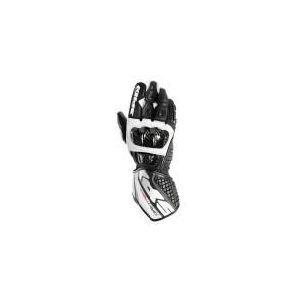 Spidi Carbo Track (noir et blanc) - Gants moto racing en cuir pour homme