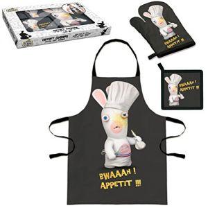 Coffret cuisinier : tablier + gant + manique Lapins Crétins