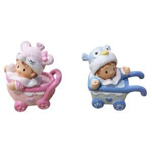 DIGE n27sh06a - Figurine en résine Bébé fille dans son landau rose