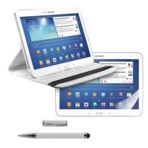 Kwmobile 14672 - Housse en cuir 360° Premium avec fonction support, film de protection et stylet pour Samsung Galaxy Tab 3 10.1 P5200 / P5210 / P5220